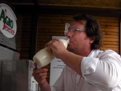Dean drinking raw milk