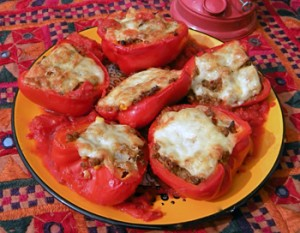 Spicy Cauliflower and Almond-Stuffed Peppers